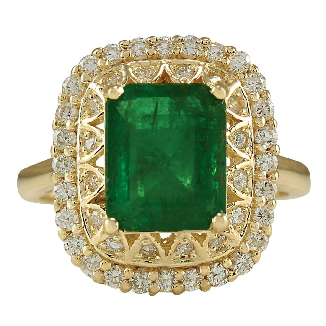 3.11Ct Natural Emerald And Diamond Ring In18K Solid
