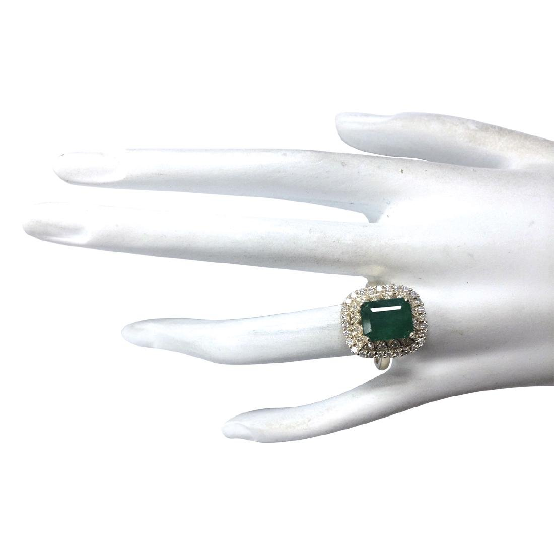 3.11Ct Natural Emerald And Diamond Ring In18K Solid - 4