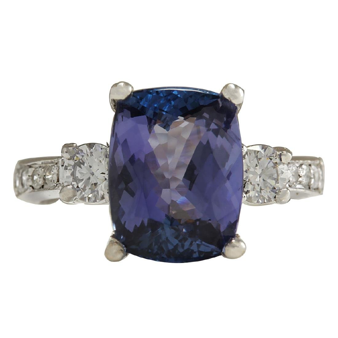 4.92CTW Natural Tanzanite And Diamond Ring 18K Solid