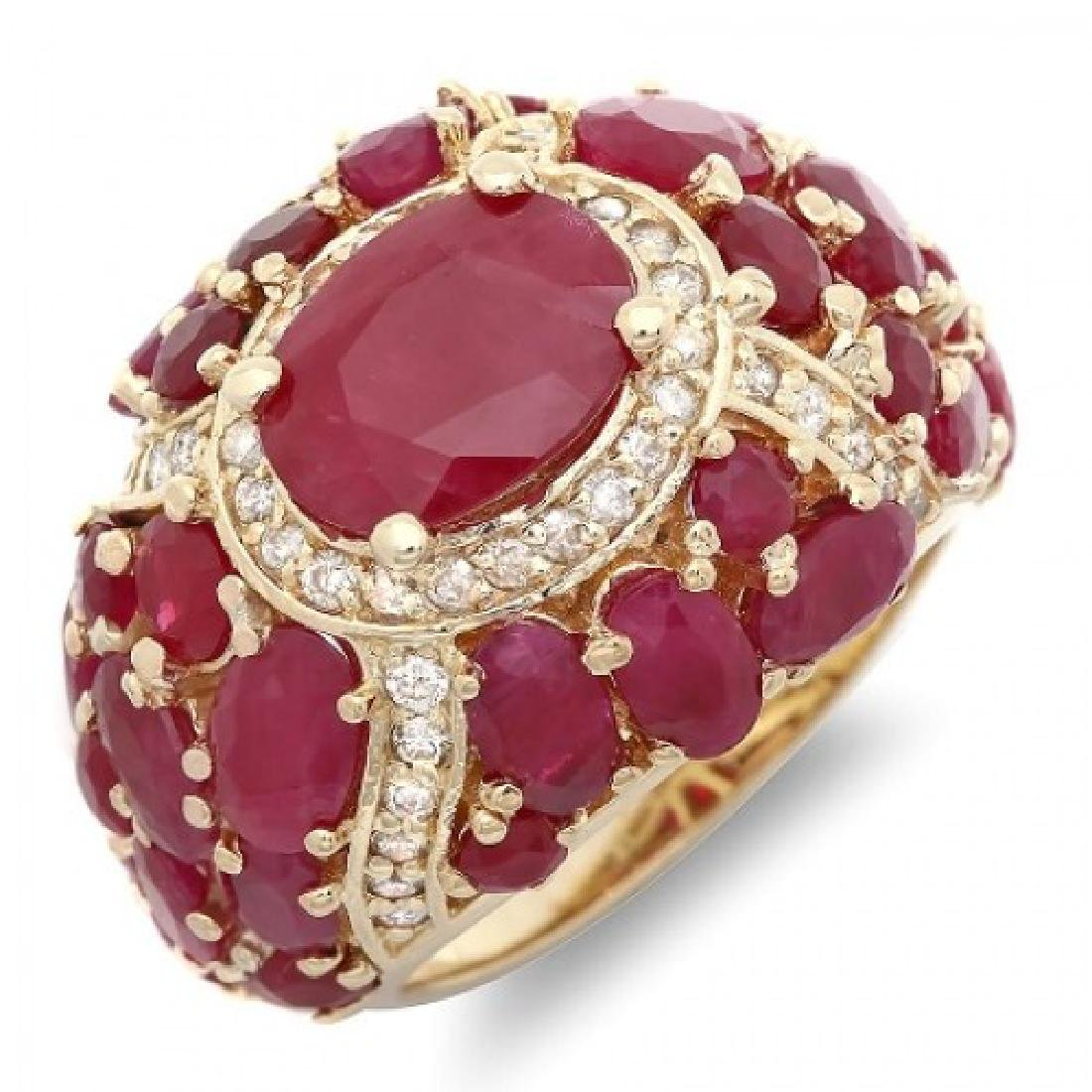 9.89 Carat Natural Ruby 18K Solid Yellow Gold Diamond