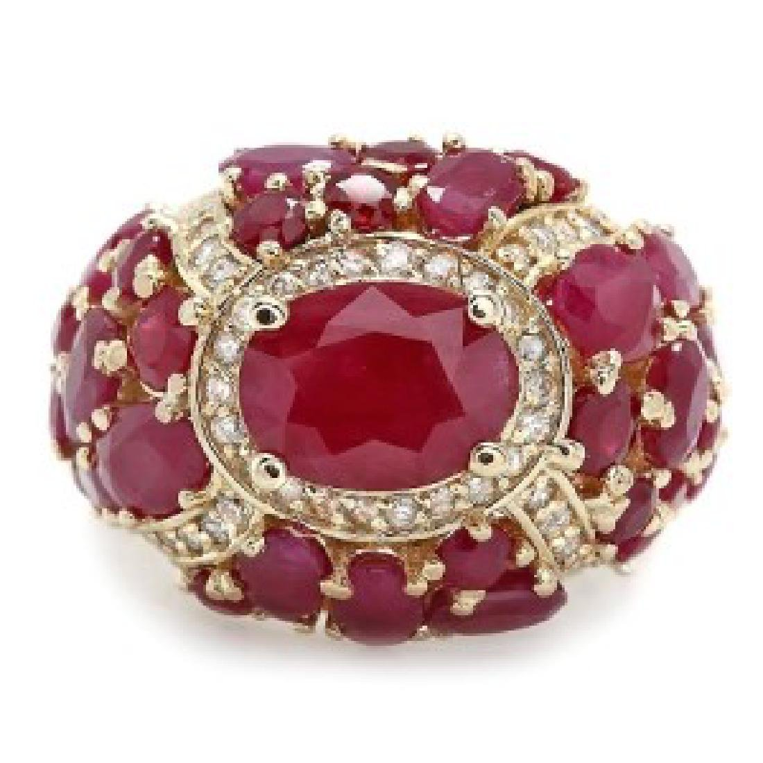 9.89 Carat Natural Ruby 18K Solid Yellow Gold Diamond - 2