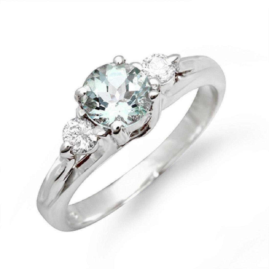 1.40 Carat Natural Aquamarine 18K Solid White Gold