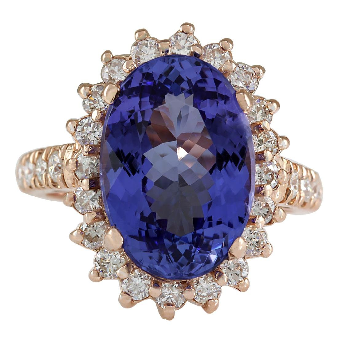 7.66CTW Natural Tanzanite And Diamond Ring In 18K Solid