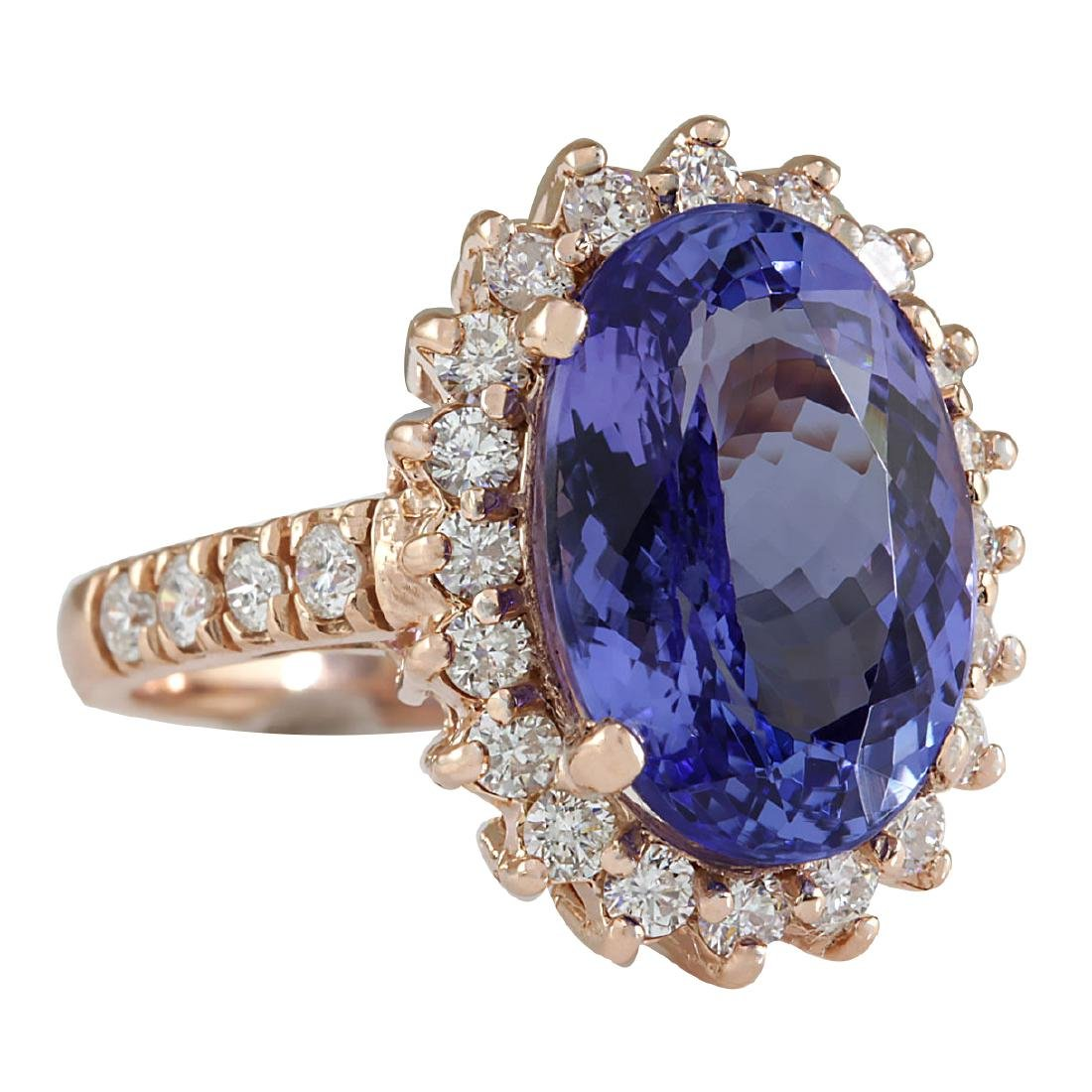 7.66CTW Natural Tanzanite And Diamond Ring In 18K Solid - 2