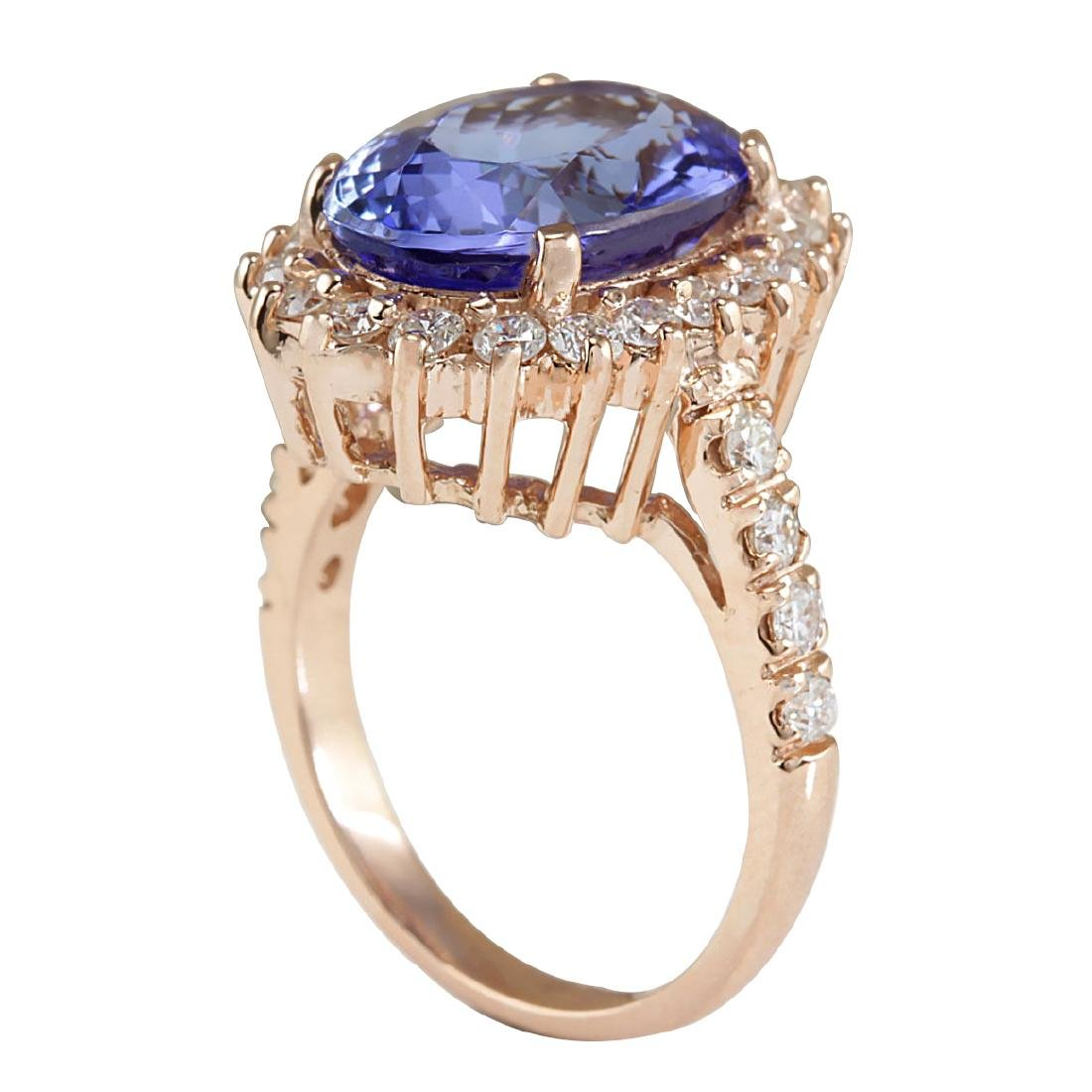 7.66CTW Natural Tanzanite And Diamond Ring In 18K Solid - 3