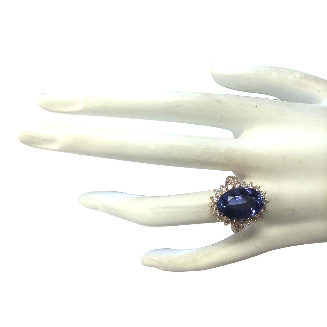 7.66CTW Natural Tanzanite And Diamond Ring In 18K Solid - 4
