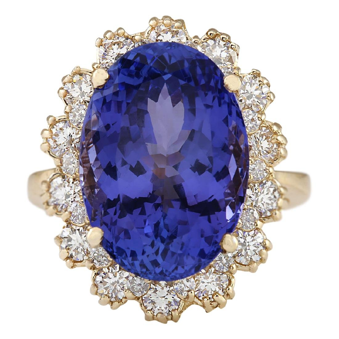 12.38 CTW Natural Tanzanite And Diamond Ring In 18K