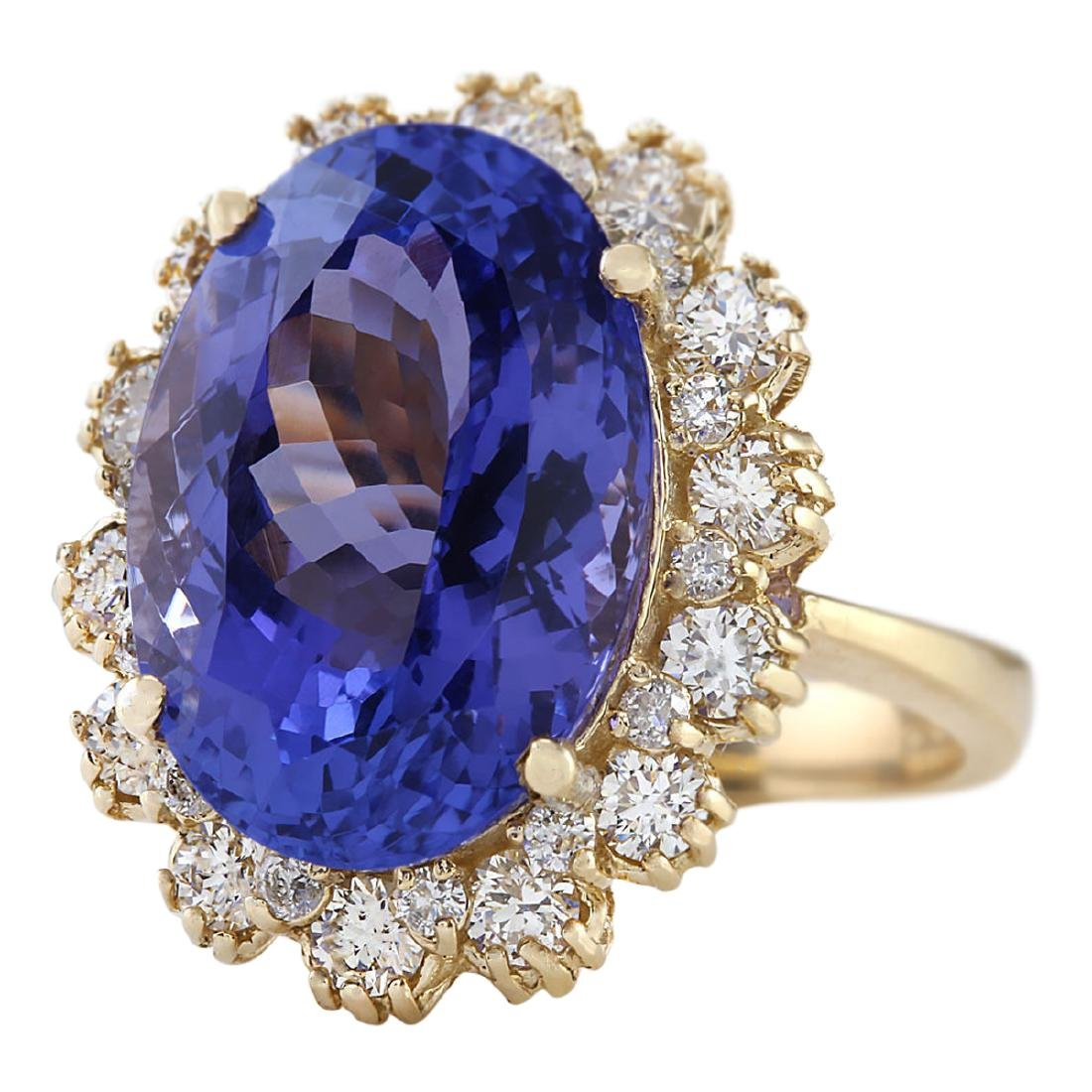 12.38 CTW Natural Tanzanite And Diamond Ring In 18K - 2