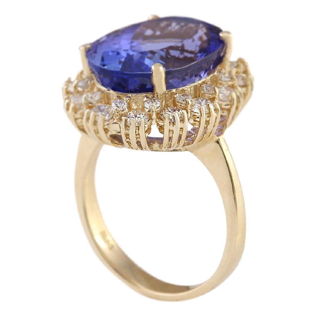 12.38 CTW Natural Tanzanite And Diamond Ring In 18K - 3
