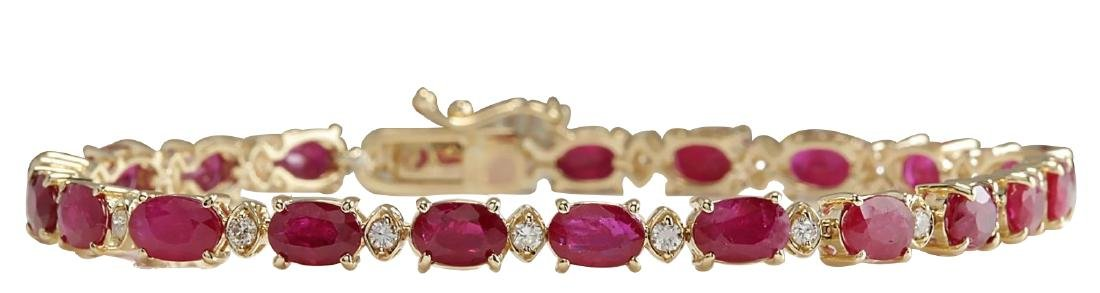 18.98CTW Natural Ruby And Diamond Bracelet In 18K