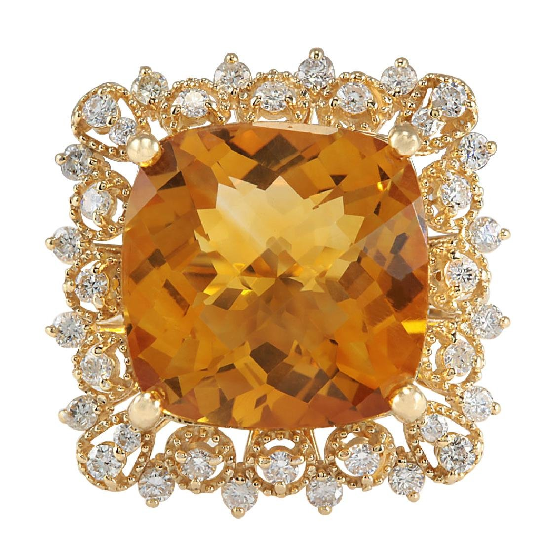 13.50CTW Natural Citrine And Diamond Ring In 18K Yellow