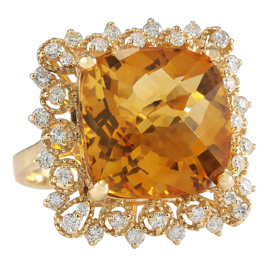13.50CTW Natural Citrine And Diamond Ring In 18K Yellow - 2