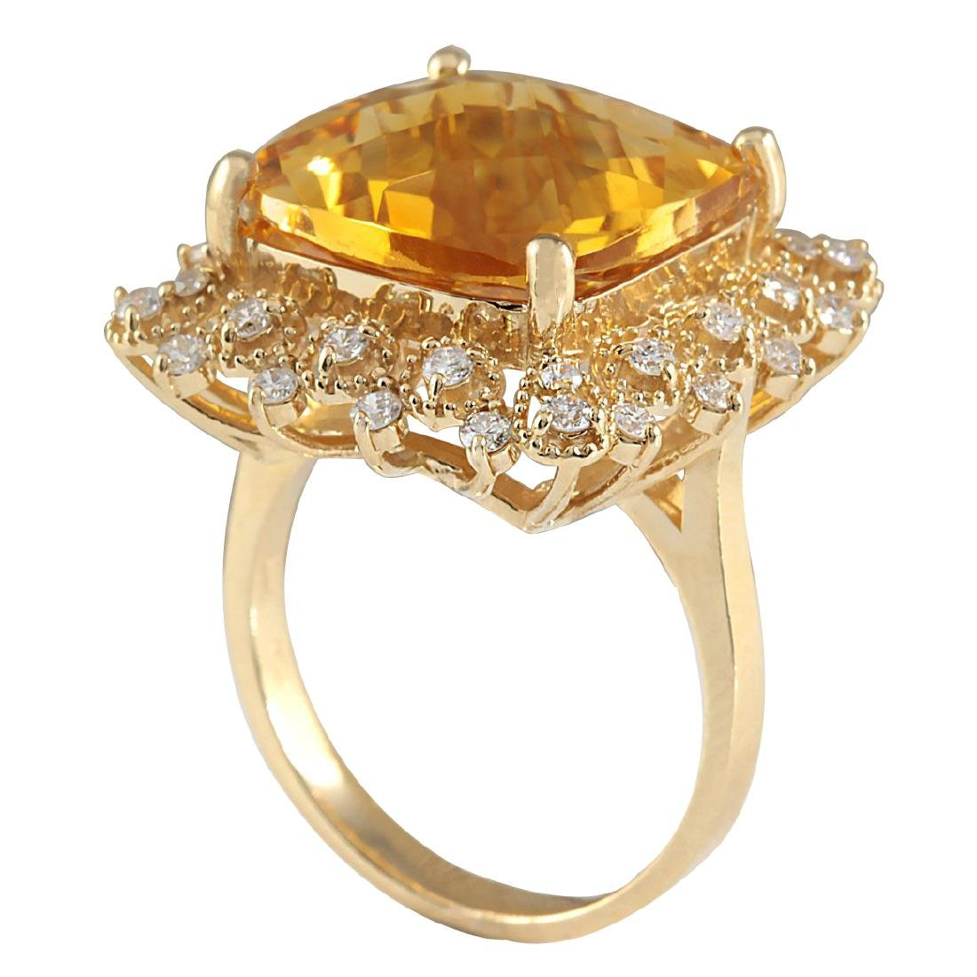 13.50CTW Natural Citrine And Diamond Ring In 18K Yellow - 3