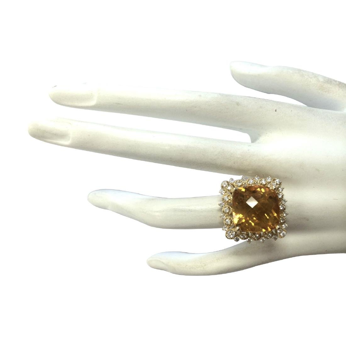 13.50CTW Natural Citrine And Diamond Ring In 18K Yellow - 4