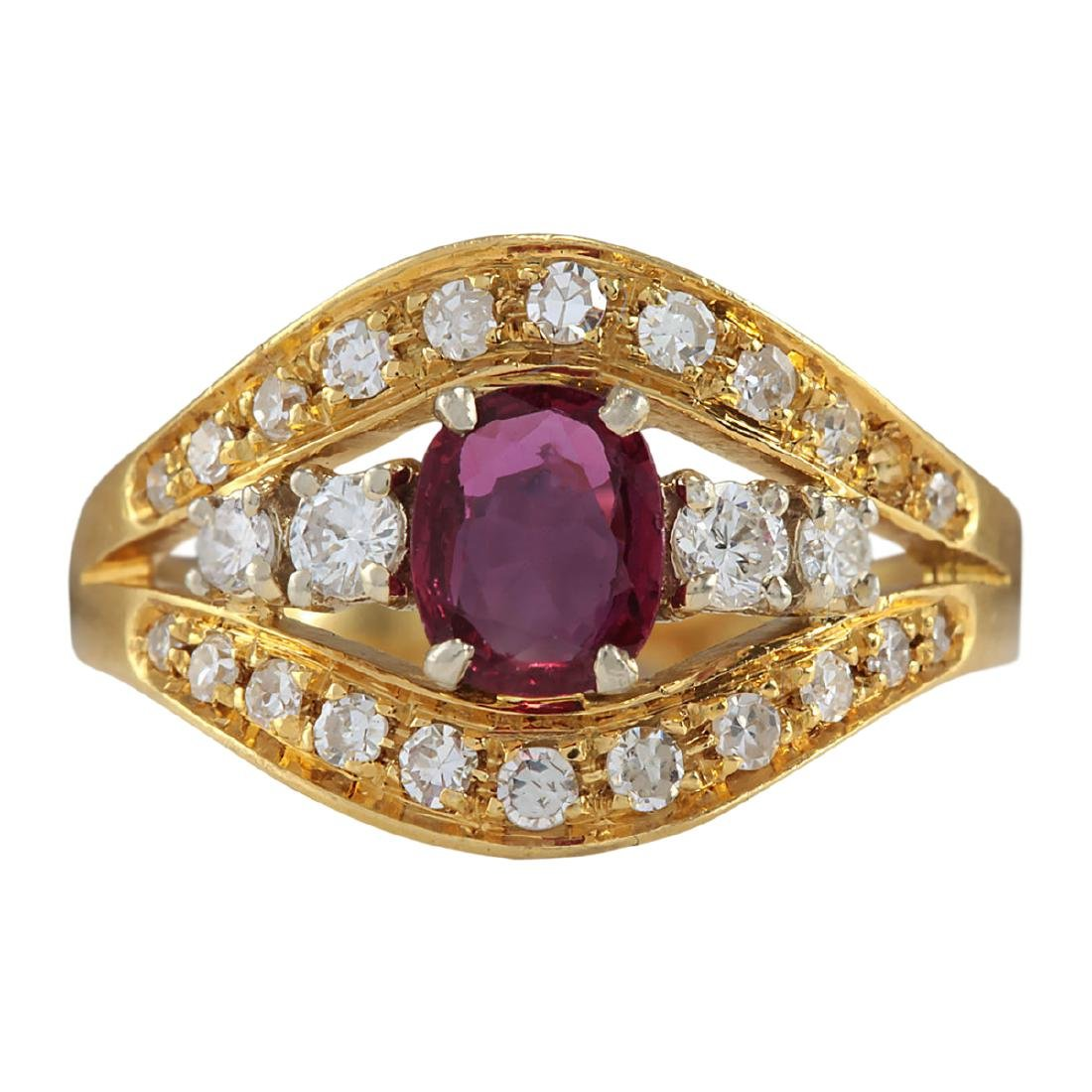 1.15 CTW Natural Ruby And Diamond Ring 18K Solid Yellow