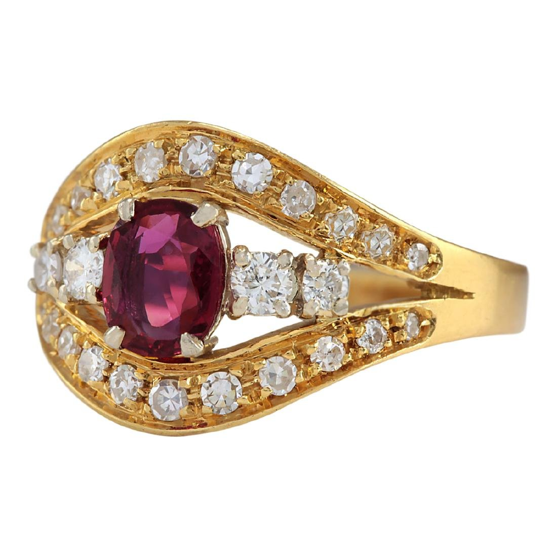 1.15 CTW Natural Ruby And Diamond Ring 18K Solid Yellow - 2