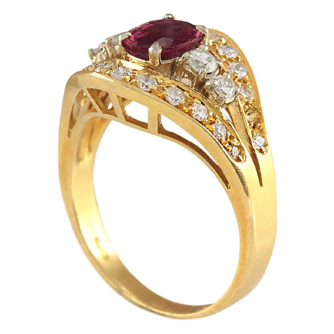 1.15 CTW Natural Ruby And Diamond Ring 18K Solid Yellow - 3
