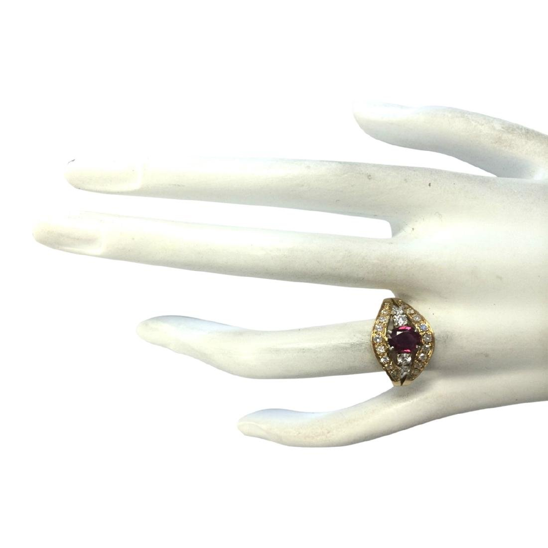 1.15 CTW Natural Ruby And Diamond Ring 18K Solid Yellow - 4