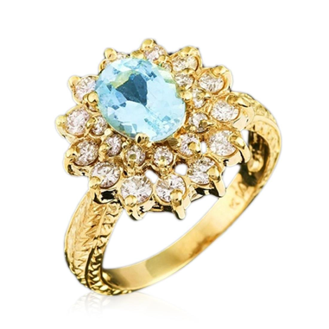 2.40 Carat Natural Aquamarine 18K Solid Yellow Gold