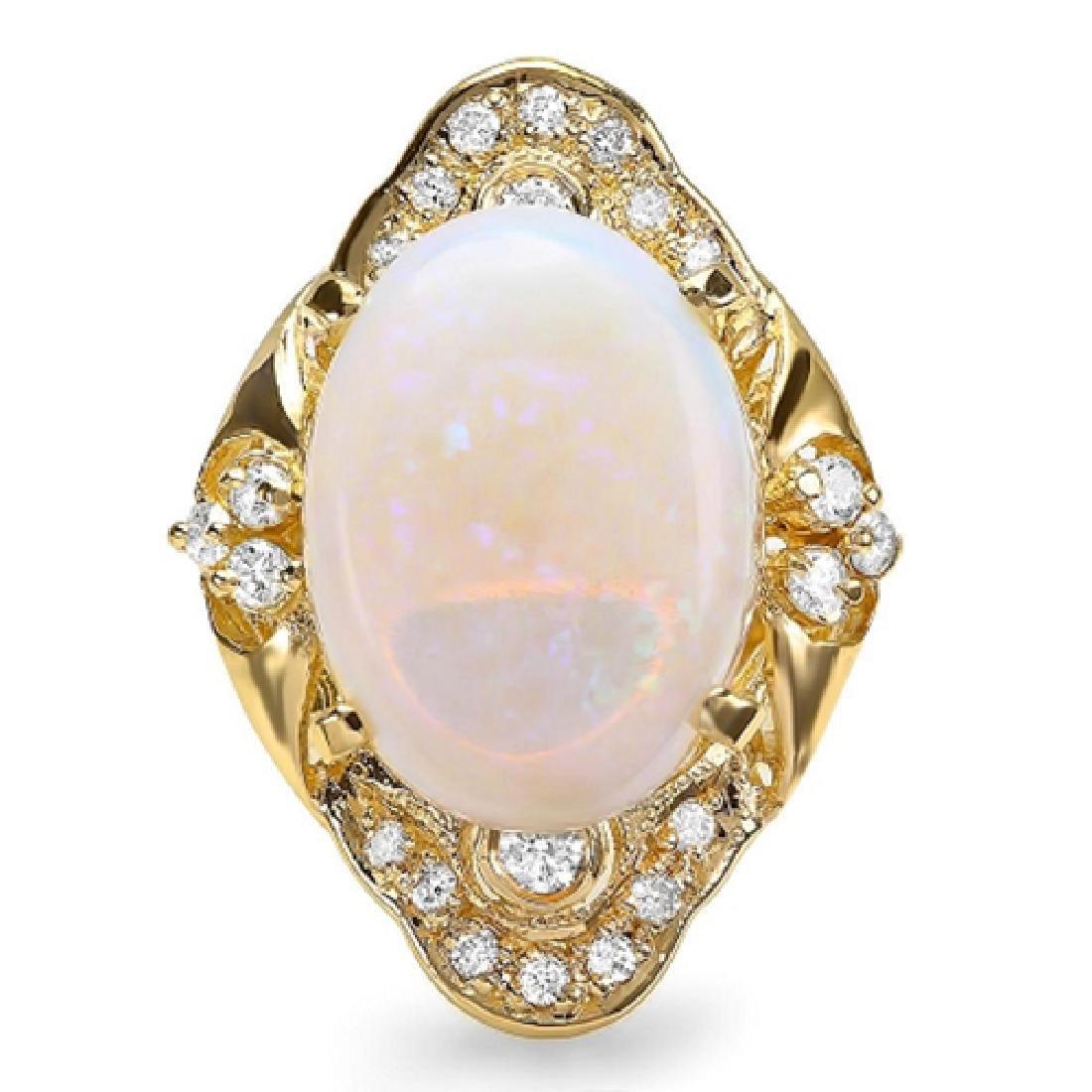 9.85 Carat Natural Opal 18K Solid Yellow Gold Diamond