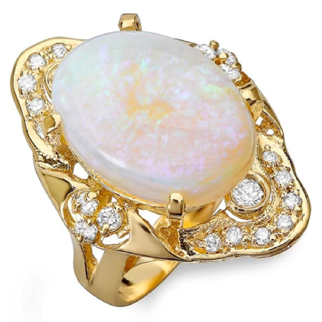9.85 Carat Natural Opal 18K Solid Yellow Gold Diamond - 2