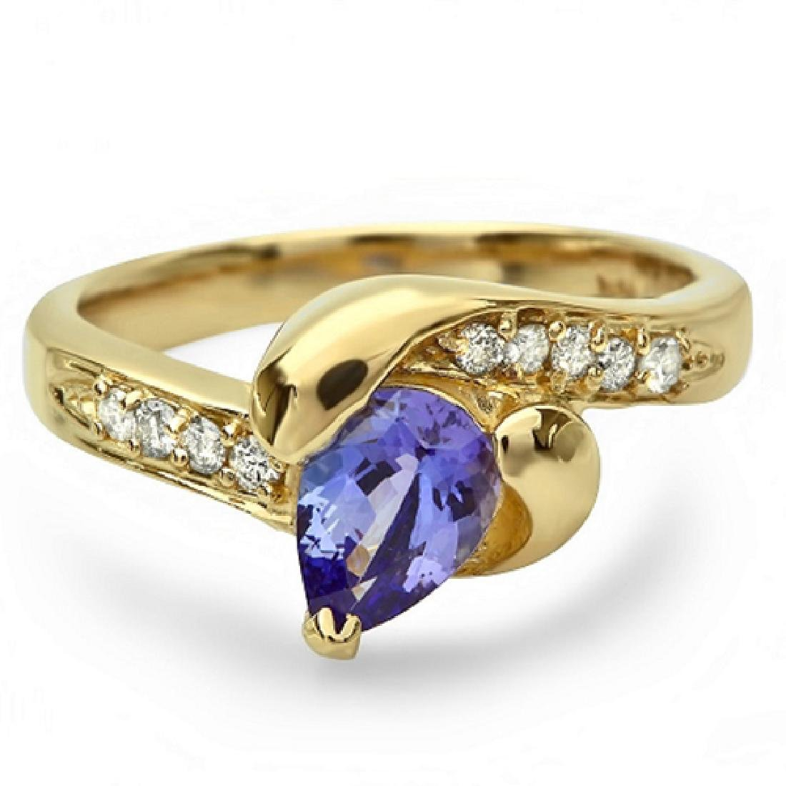 0.80 Carat Natural Tanzanite 18K Solid Yellow Gold