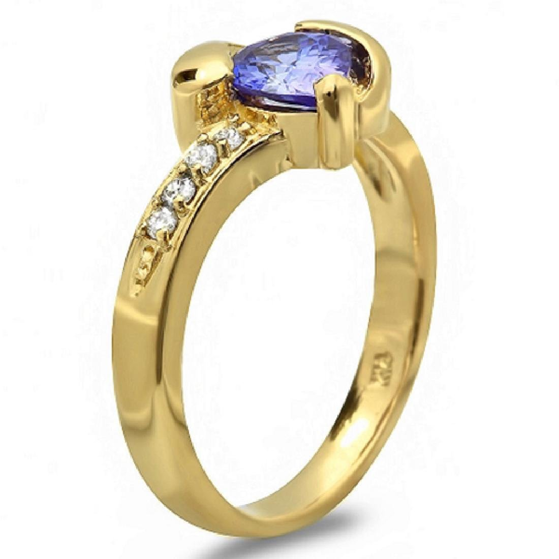 0.80 Carat Natural Tanzanite 18K Solid Yellow Gold - 2