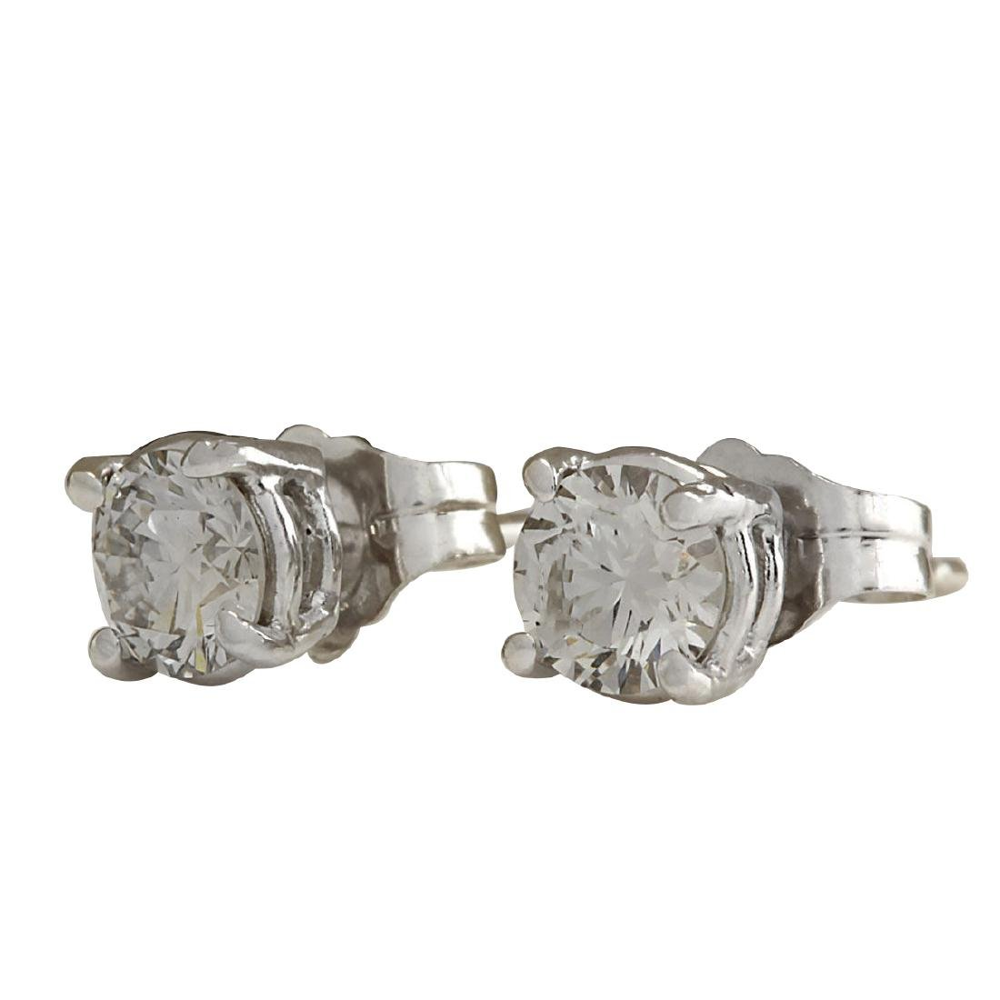 .68CTW Natural Diamond Earrings 18K Solid White Gold - 2