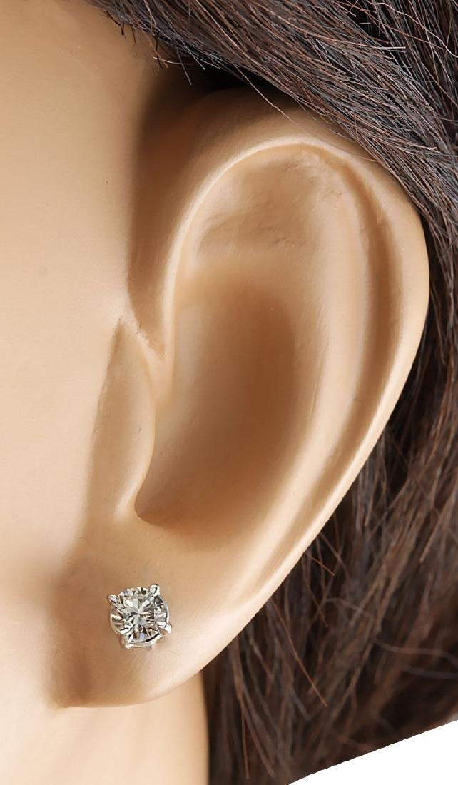 .68CTW Natural Diamond Earrings 18K Solid White Gold - 3