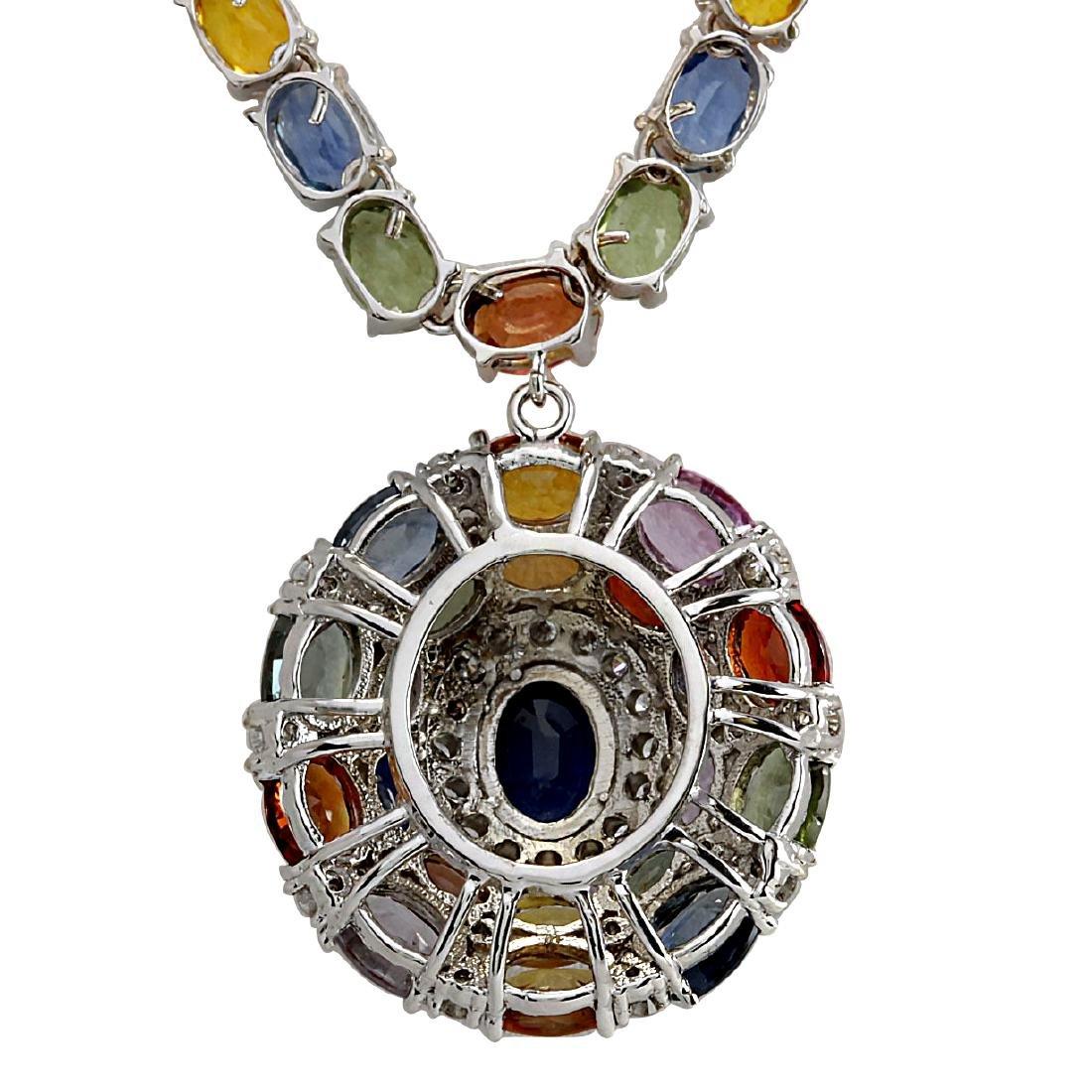 46.99CTW Natural Ceylon Sapphire And Diamond Necklace - 2