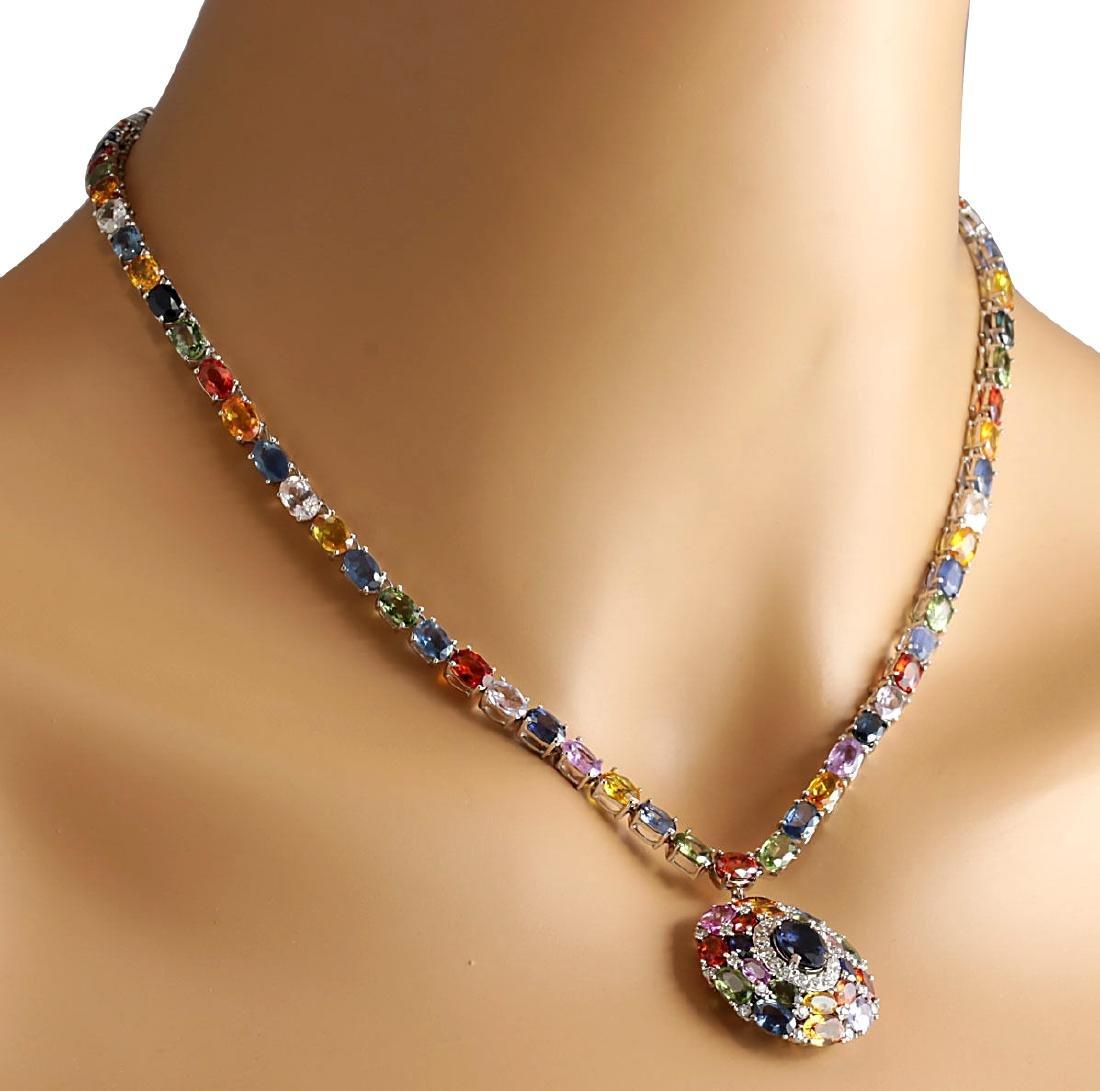 46.99CTW Natural Ceylon Sapphire And Diamond Necklace - 4