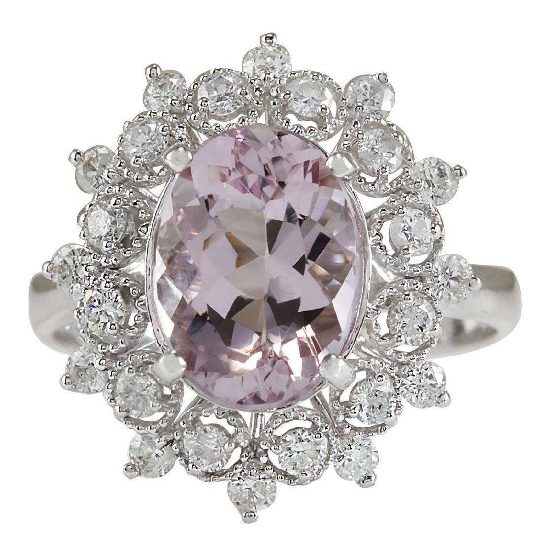 3.68CTW Natural Morganite And Diamond Ring In 18K White
