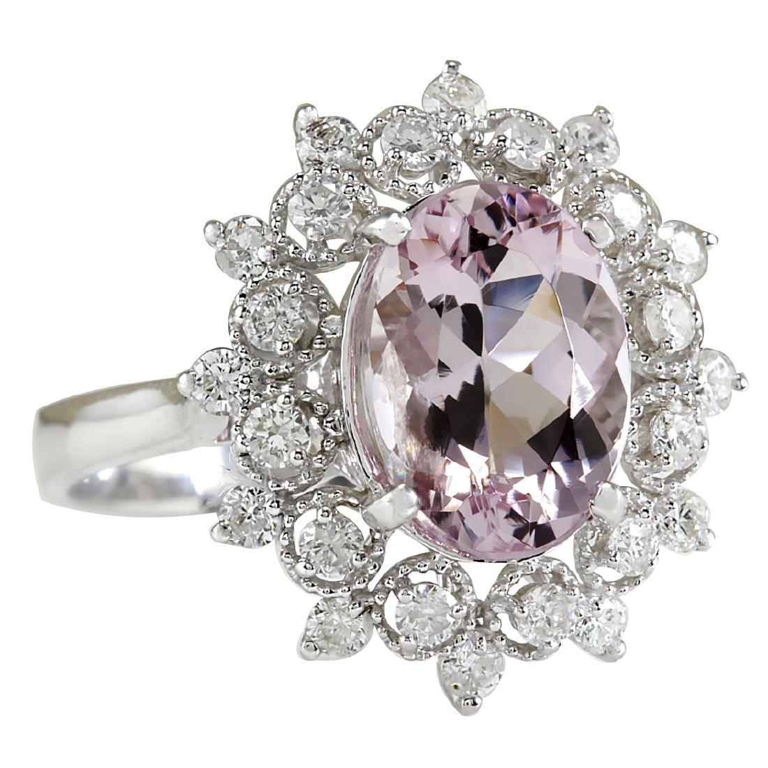 3.68CTW Natural Morganite And Diamond Ring In 18K White - 2