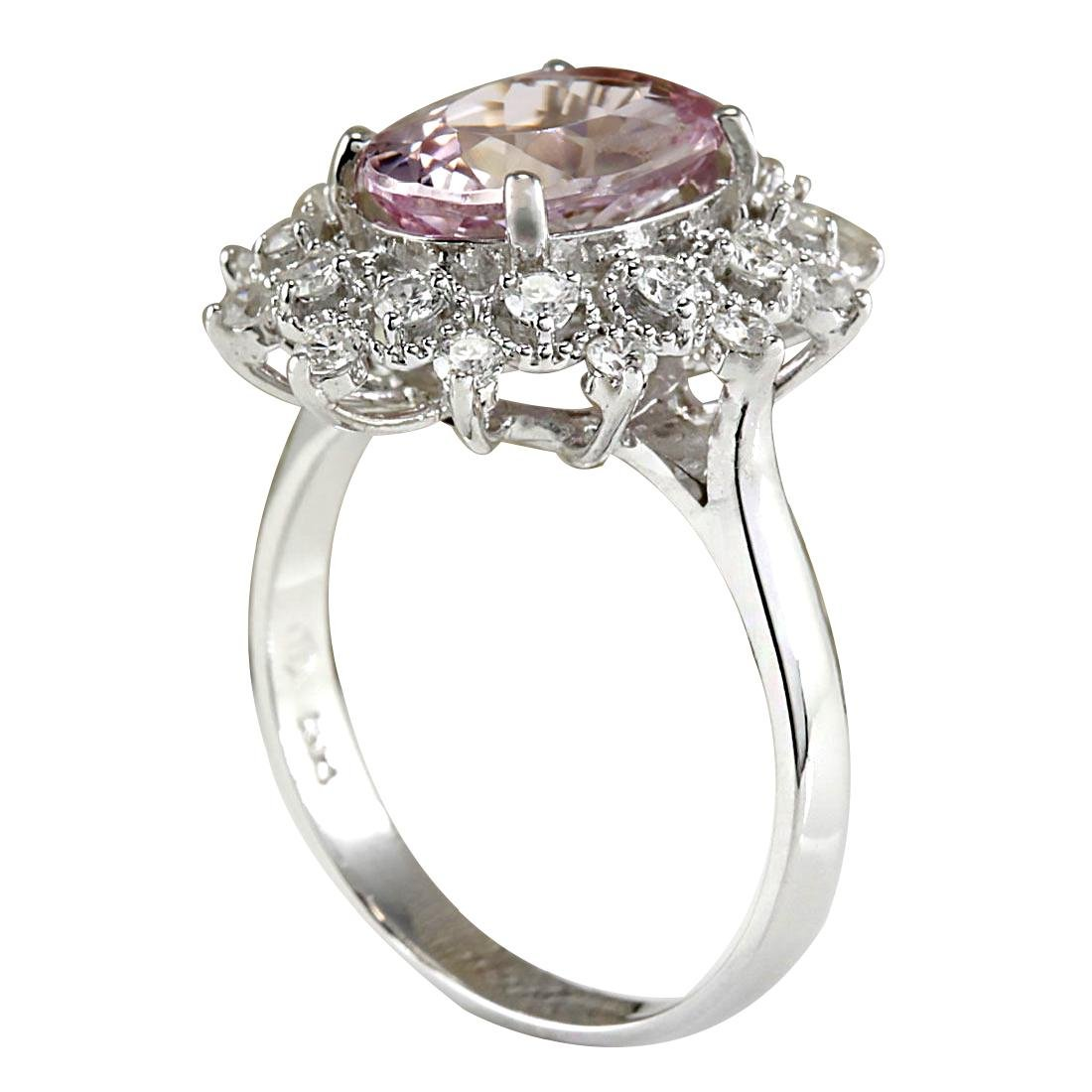 3.68CTW Natural Morganite And Diamond Ring In 18K White - 3