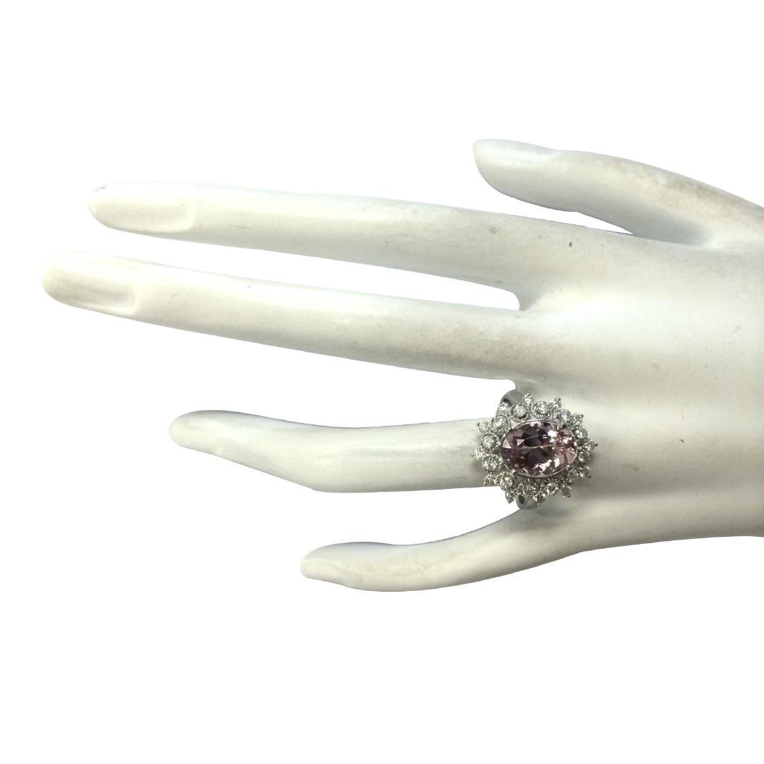 3.68CTW Natural Morganite And Diamond Ring In 18K White - 4