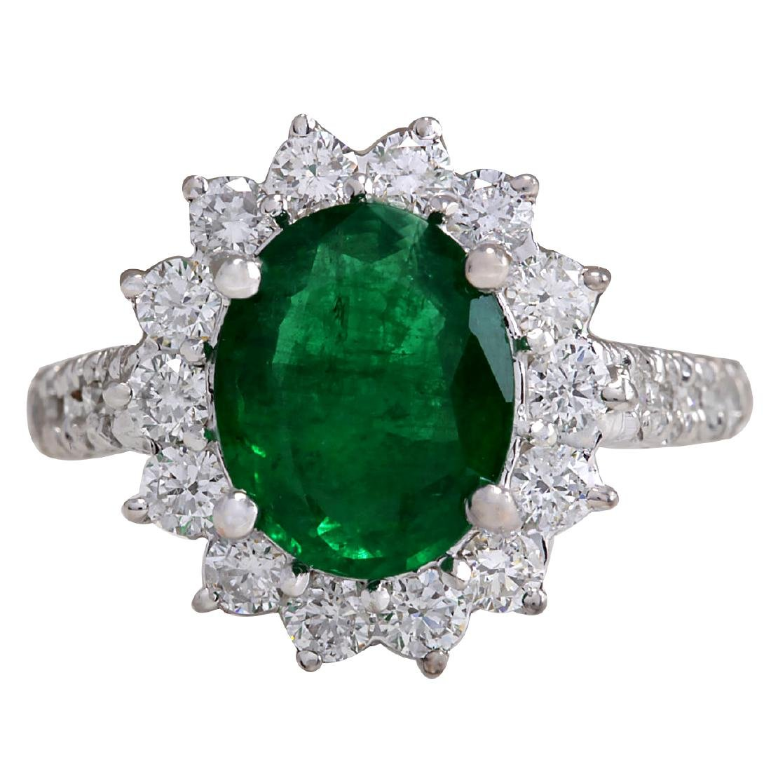 3.08CTW Natural Emerald And Diamond Ring 18K Solid
