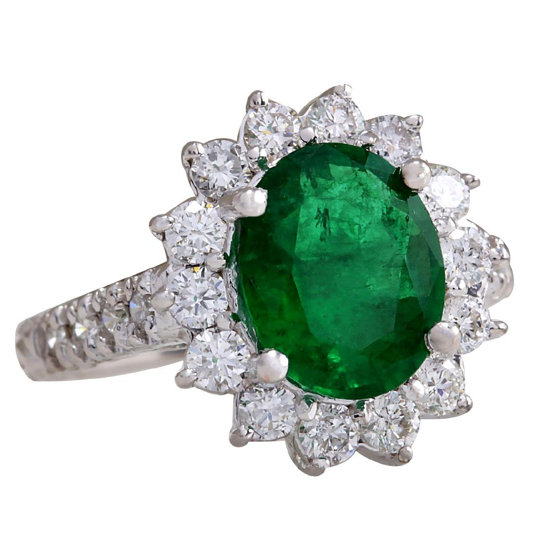 3.08CTW Natural Emerald And Diamond Ring 18K Solid - 2