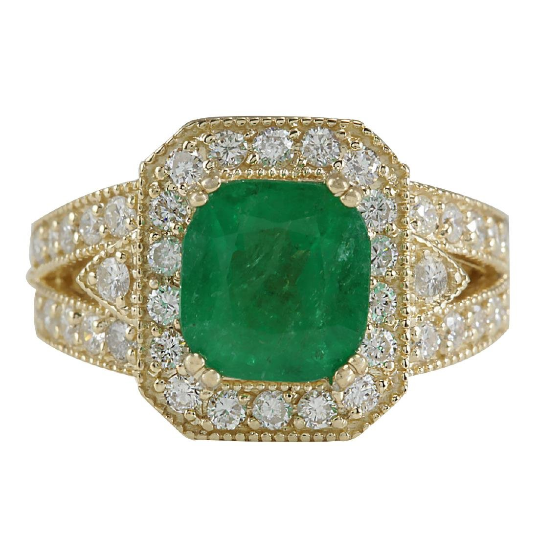 3.84CTW Natural Emerald And Diamond Ring 18K Solid