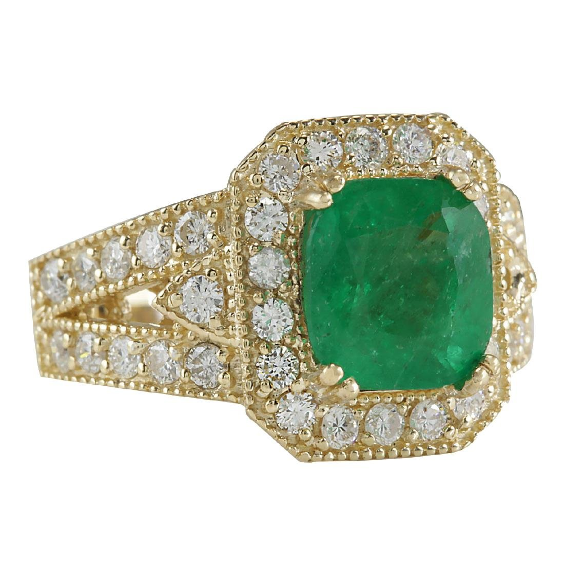 3.84CTW Natural Emerald And Diamond Ring 18K Solid - 2