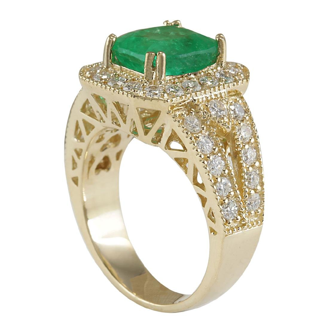 3.84CTW Natural Emerald And Diamond Ring 18K Solid - 3