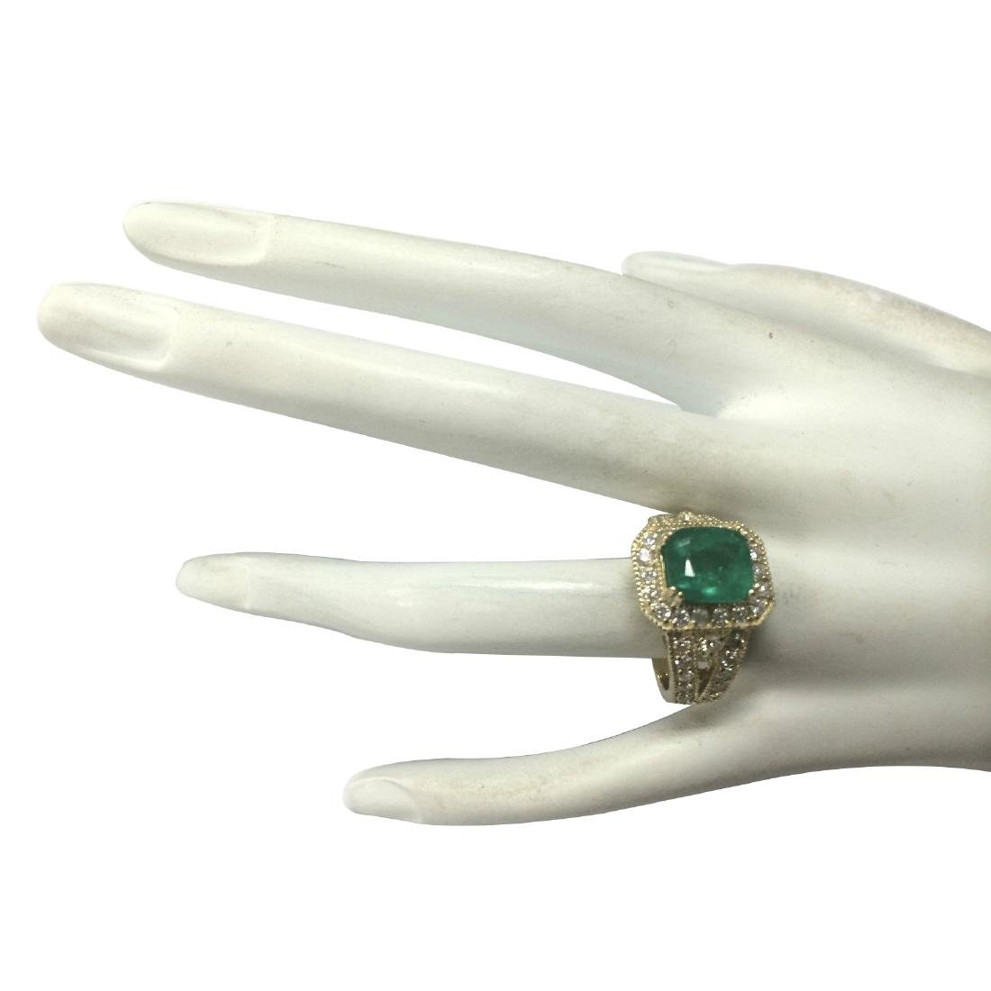 3.84CTW Natural Emerald And Diamond Ring 18K Solid - 4