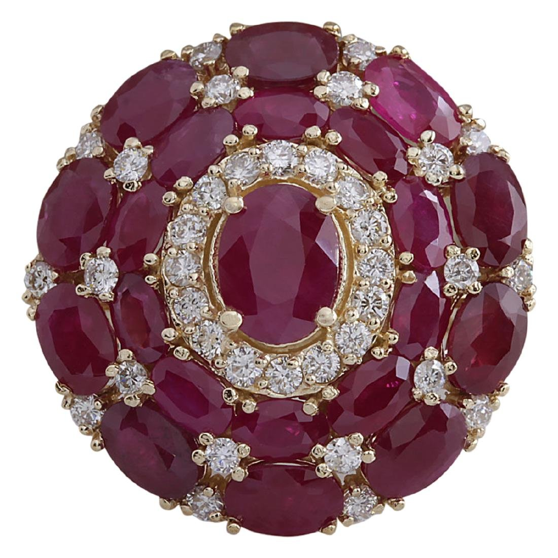 13.23 CTW Natural Red Ruby And Diamond Ring 18K Solid