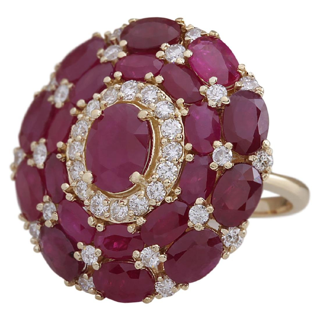 13.23 CTW Natural Red Ruby And Diamond Ring 18K Solid - 2