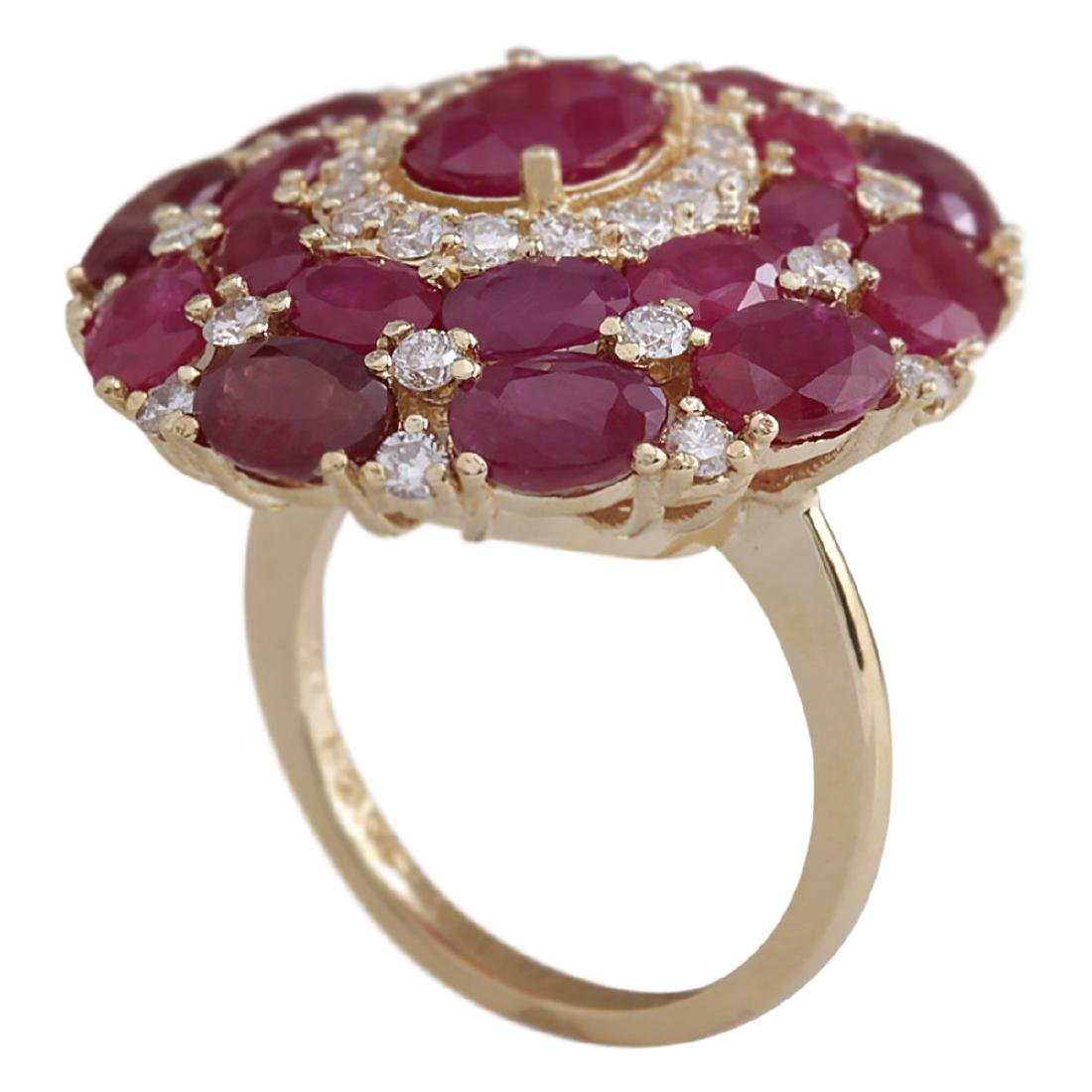 13.23 CTW Natural Red Ruby And Diamond Ring 18K Solid - 3