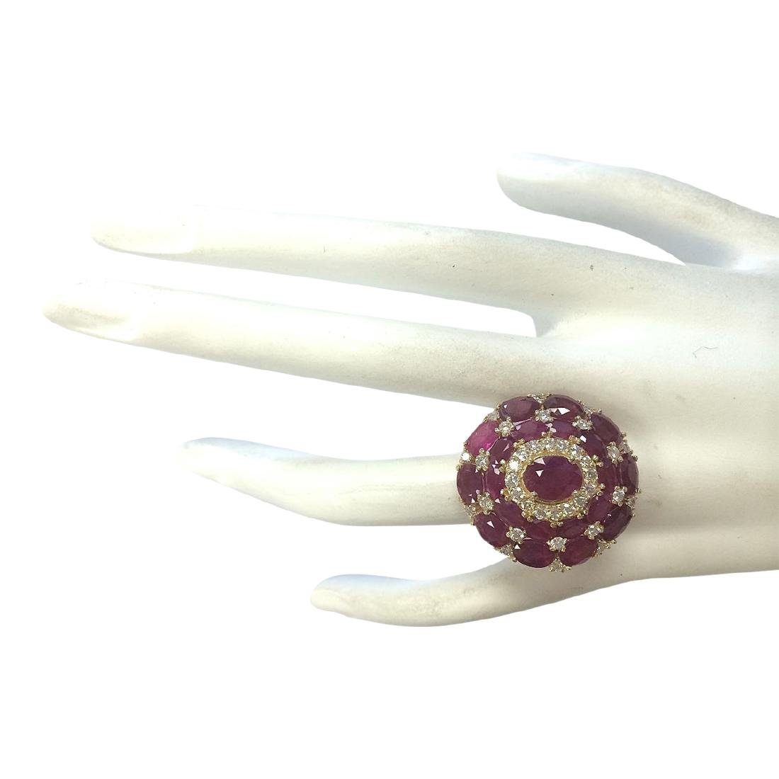 13.23 CTW Natural Red Ruby And Diamond Ring 18K Solid - 4