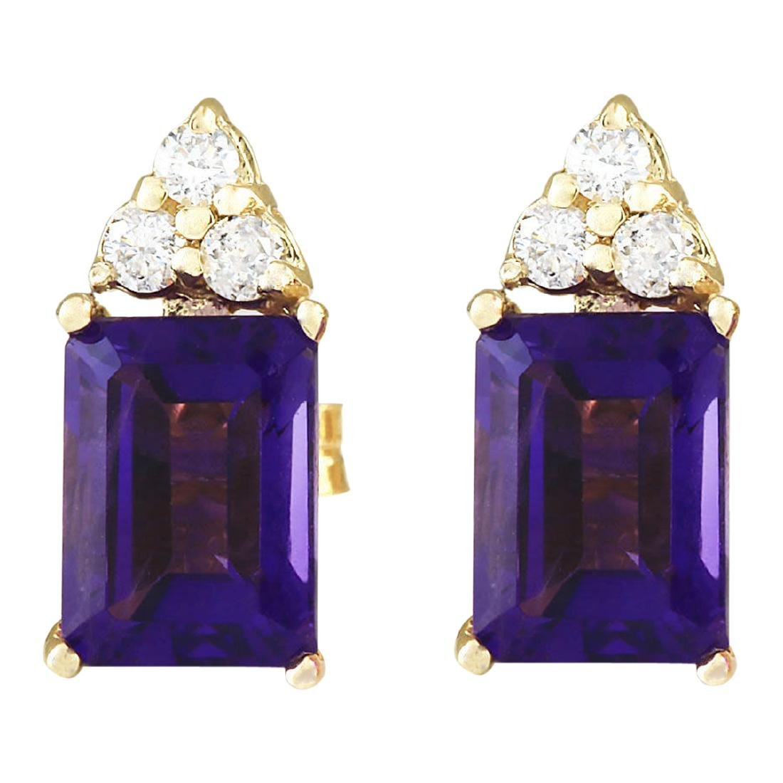 2.66 CTW Natural Amethyst And Diamond Earrings 18K