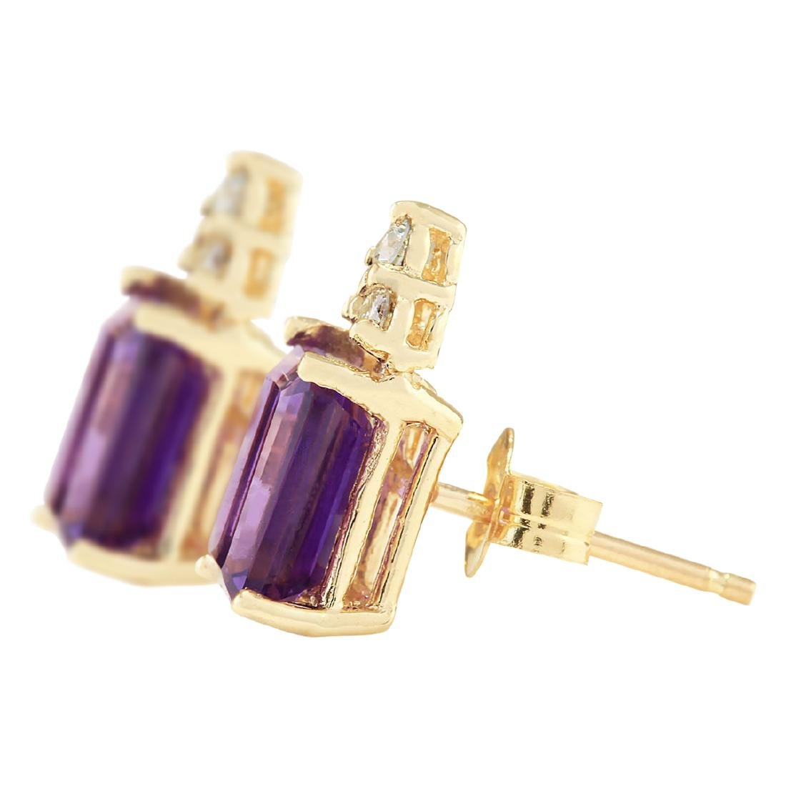 2.66 CTW Natural Amethyst And Diamond Earrings 18K - 2