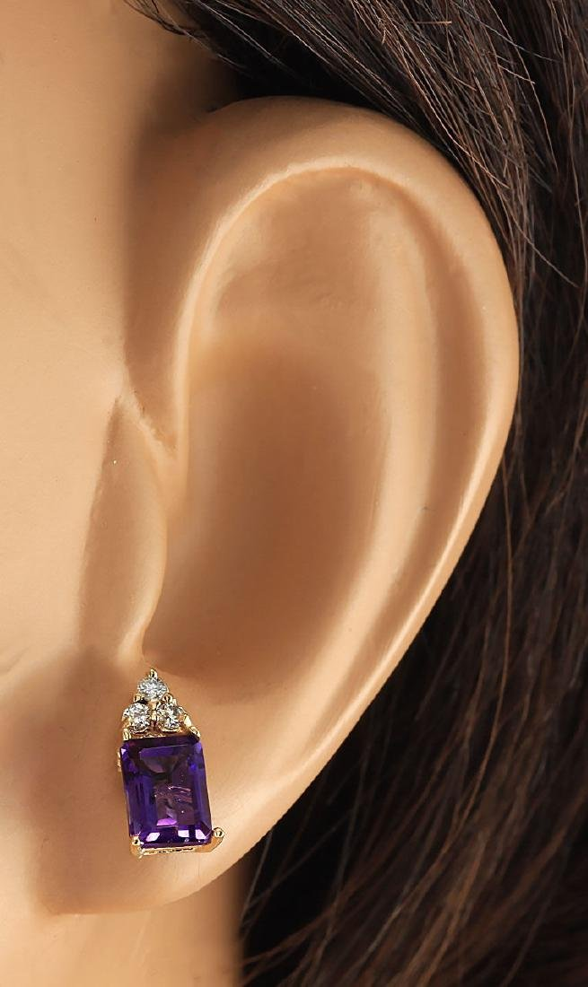 2.66 CTW Natural Amethyst And Diamond Earrings 18K - 3