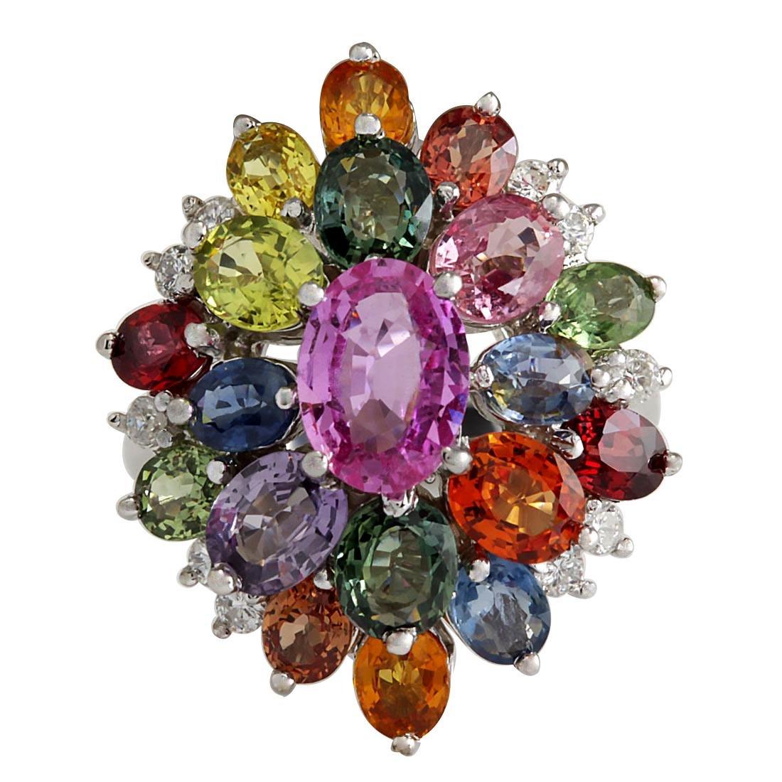 7.63Ct Natural Ceylon Sapphire And Diamond Ring In18K