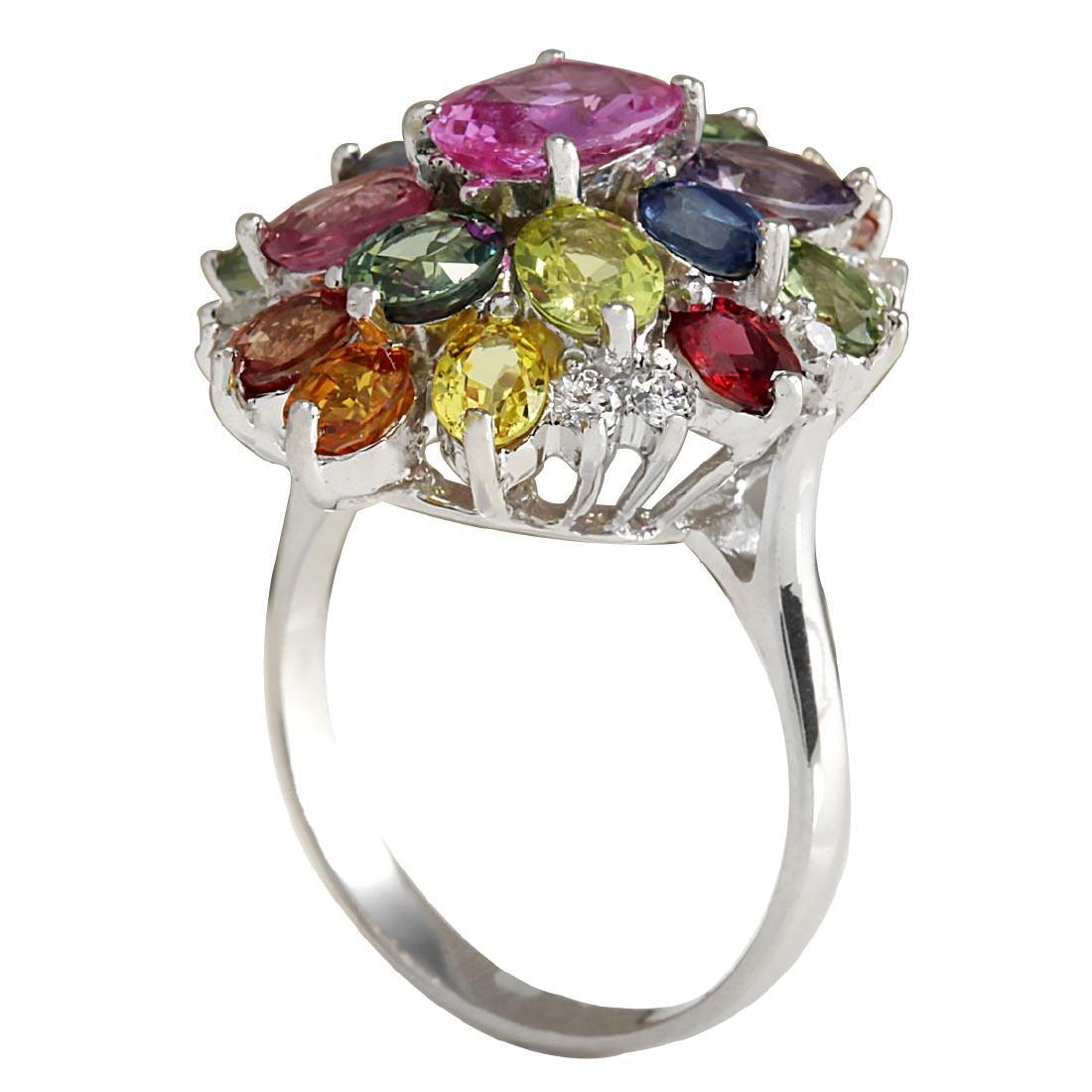 7.63Ct Natural Ceylon Sapphire And Diamond Ring In18K - 3